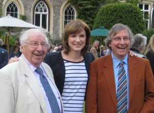 John and Henry Sandon with Fiona Bruce at the Antiques Roadshow at Hartland Abbey